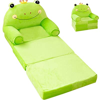 "MOCOHANA Plush Foldable Kids Sofa Backrest Chair Children's Flip Open Sofa Bed Kids Upholstered Foam Chair Toddler Recliner Cute Cartoon Toddler Armchair for Living Room Bedroom 45.3"" Green: Kitchen & Dining"