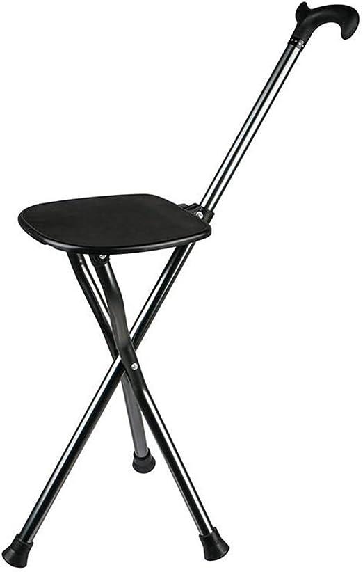 Muleta Silla plegable de caña Abducción multifunción Caminadora plegable de tres patas Ancianos con sillones de cáñamo (Color : Black): Amazon.es: Hogar
