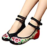 AvaCostume Women's Chinese Peony Embroidery Double Ankle Strap Ballet Flat Loafers Shoes Black 39