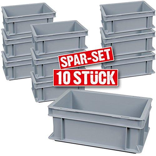 10 x Caja de transporte/almacenamiento Buzón, apilable, 300 x 200 x 120 mm (LxBxH), extremadamente estable, Suelo Y paredes cerrado, color gris: Amazon.es: Industria, empresas y ciencia