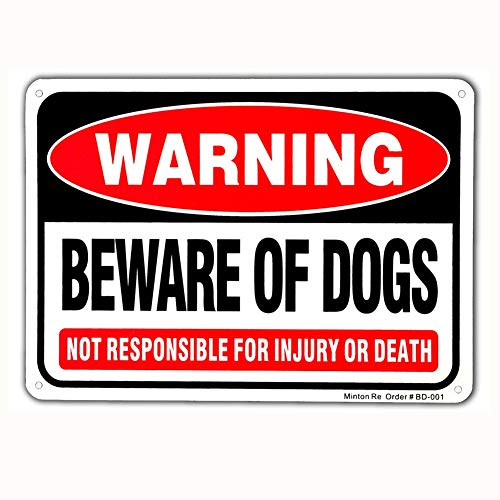 Beware of Dog Sign, 10 x 7 Rust Free Aluminum Warning Dog Sign, UV Printed Reflective Weather Resistant Dog Bite Sign for Outdoors by Minton