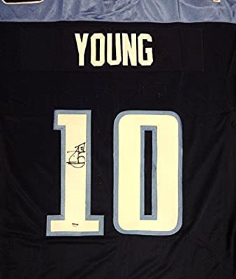 Tennessee Titans Vince Young Autographed Blue Reebok Elite Jersey Size 52 Psa/dna Stock #91870