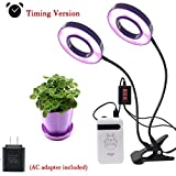 MOONBROOK Plant Lights, Dual Head LED Lights 3 Modes Timer (3H/6H/12H) Dimmable 5 levels Adjustable with 360 Degree Flexible Gooseneck LED Plant Growing Lamp for Indoor Plants