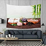 Anniutwo Spa Dorm Decor Bamboo Background with Towel Flowers Candled and Zen Hot Massage Stones Tapestry Table Cover Bedspread Beach Towel W71 x L60 (inch) Green White and Brown