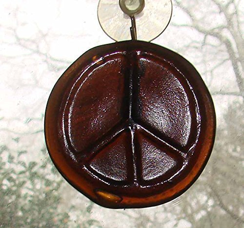 Peace Sign Brown Upcycled Recycled Bottle Bottom Handmade Sun Catcher