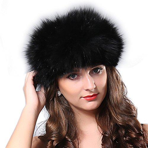 FURTALK Winter Fox Fur Hat Headband - Women's Genuine Wrap Cap Neckwarmer Original
