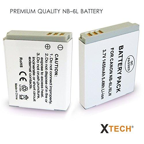 2 Pack de Batería NB-6L /NB6L + Cargador de Batería para Canon PowerShot SX540 SX530 SX610 SX600 SX710 SX520 SX510 SX500 SX280 SX260 SX170 SD1300 SD1200 SD980 SD770 SD1300 SD1300 SD1300 SD1300 D30 D20 D20 D80 cámaras digitales