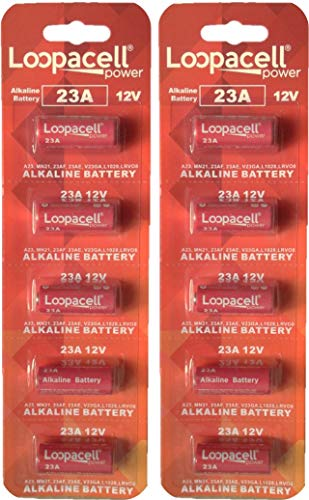 Loopacell A23 12-Volt Alkaline Battery Pack of 10