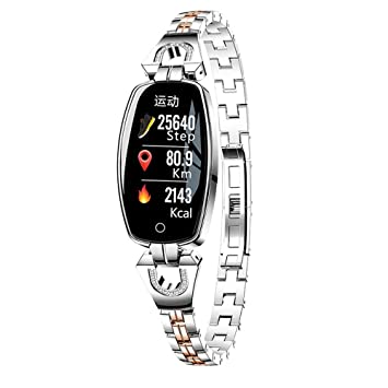 zchg H8 Pulsera Inteligente para Mujeres Monitor de Ritmo Cardíaco Reloj Inteligente Banda Presión Arterial Reloj Inteligente Rastreador de Fitness (Plata): ...