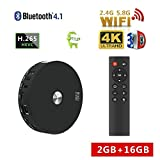 HQTECHFLY Android Smart TV Box Streaming Media Players of Android 7.1.2 RK3328 2GB RAM 16GB ROM Bluetooth 4.1 and Support Daul Channel WiFi 2.4G/5.8G 2T2R 3D 4K Ultra HD Video