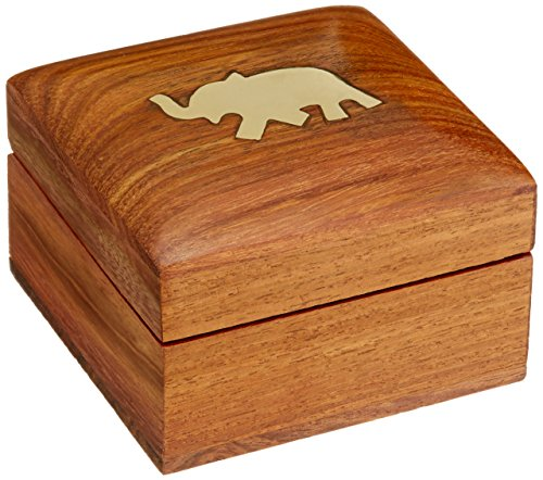 [Wooden Jewelry Box for Bracelets Elephant Charm Gift for Her, 3x3x2 Inches] (Brass Elephant Charm)
