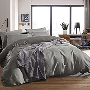 3-piece Luxury 100% Egyptian Cotton Duvet Cover Set,Smooth & Ultra Soft (Queen, Silver Gray)