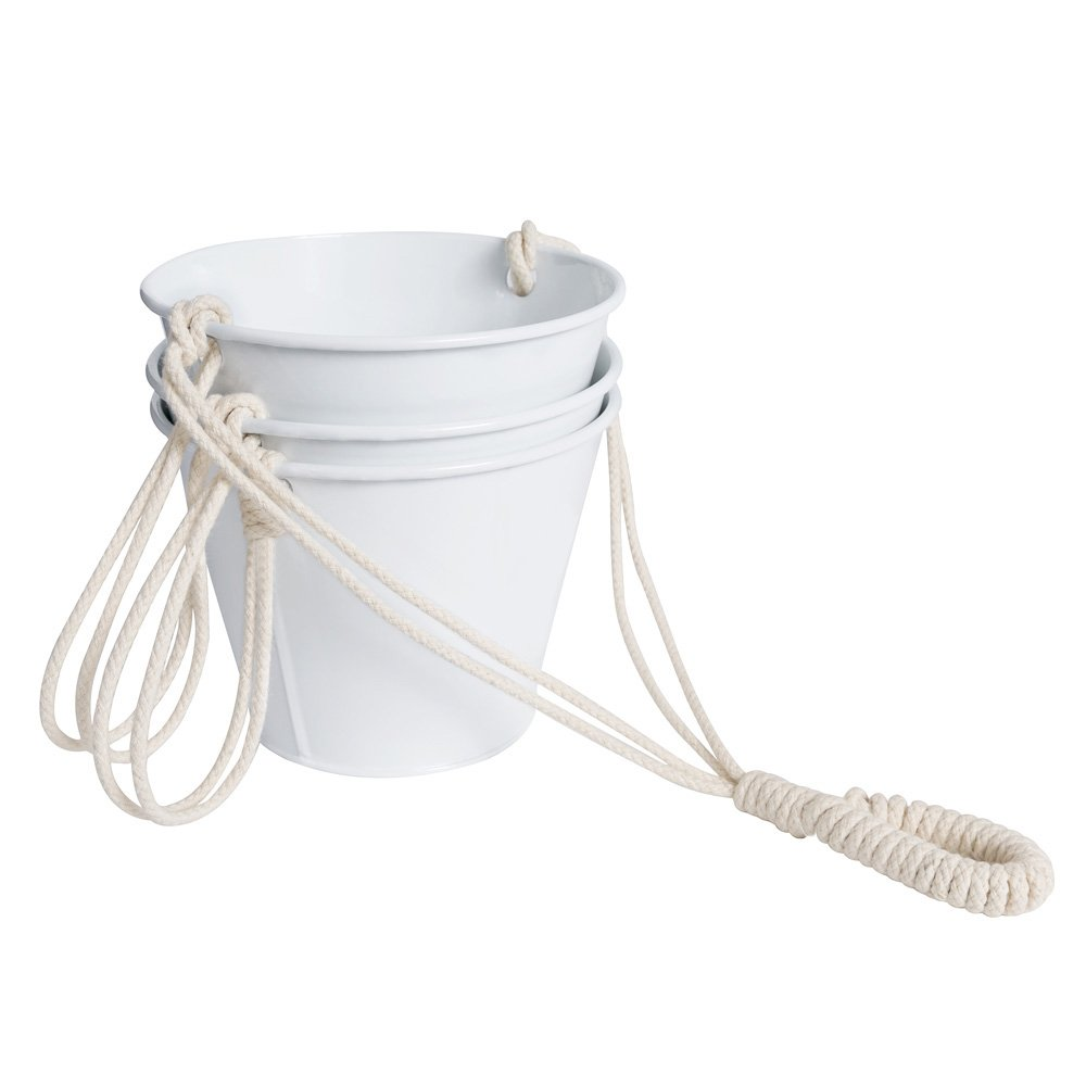 Mkono Hanging Planter 3 Tier Macrame Plant Hanger 5 inches Galvanized Flower Pots Metal Bucket with Cotton Rope for Home Garden Planting Herbs Succulents