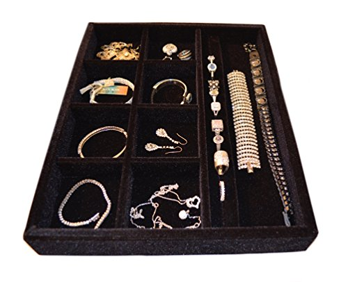 "Jewelry Drawer Organizer, Wood and Velvet Tray for Jewels, Rings, Necklaces, Bracelets, 10 Compartments, Protects Jewelry, Drawer Insertable, Stackable and Durable, Made In USA Black 15""x12""x2"""
