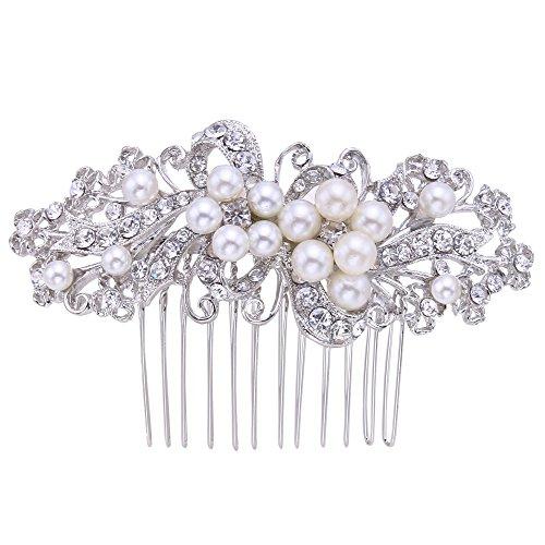 EVER FAITH Wedding Leaf Decorative Ivory Color Simulated Pearl Hair Side Comb Clear Austrian Crystal