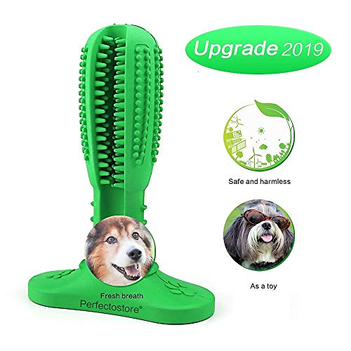 Perfectostore Toothbrush Chew Toy - Dog Toothbrush Stick Dog Teeth Cleaner Durable Natural Rubber Bite Resistant Oral Care Toys for Large and Medium (Best Toothbrushes For Dogs)