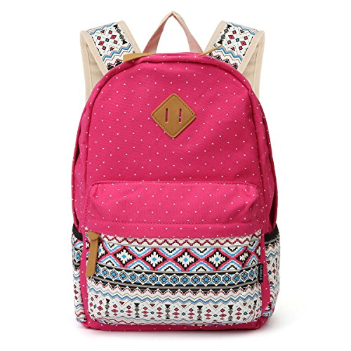 Bags Set 3PCS Women Lightweight Rose OURBAG Girls for Shoulder Canvas Wallet 3PCS Casual Blue Navy Backpack Schoolbag nw11HYq7