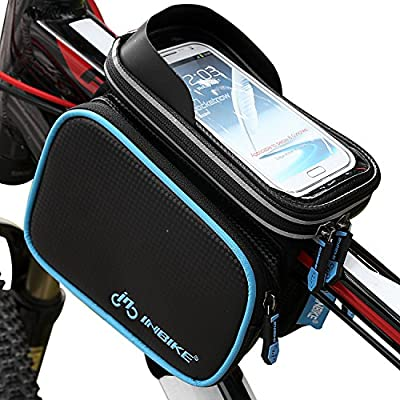 Bike Top Tube Bag, Bicycle Front Frame Pannier Bag With Touch Screen Phone Case 5.7""