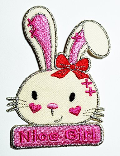 (HHO Pink rabbit Nice Girl bunny cartoon Patch Embroidered DIY Patches, Cute Applique Sew Iron on Kids Craft Patch for Bags Jackets Jeans Clothes)