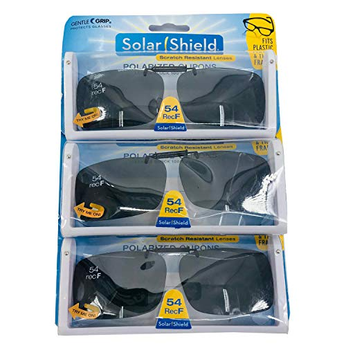 Foster Grant 3 Pack 54 REC F Solar Shields Gray Optics Polarized Clip On Sunglasses Rimess & Scratch Resistant Lens with Storage Case ()