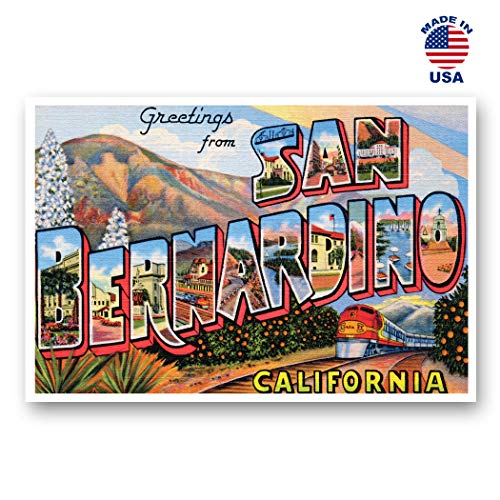 GREETINGS FROM SAN BERNARDINO, CA vintage reprint postcard set of 20 identical postcards. Large Letter San Bernardino, California city name post card pack (ca. 1930's-1940's). Made in ()