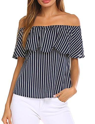 Sherosa Women's Casual Slash Neck Soild Short Sleeve Shirt (S, Navy)