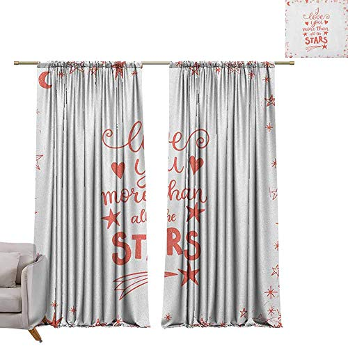 berrly Room Darkening Wide Curtains I Love You More,Quote of Infatuation Surrounded by Stars Scribble Art for Valentines, Vermilion White W84 x L96 Window Curtain Fabric