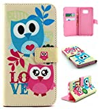 Galaxy S6 Edge Plus Case Wallet,IVY [Owl Couples][Kickstand Flip Case][Card Slot][Cash Pockets][Magnetic Buckle] Premium PU Leathe Wallet Flip Case For Samsung Galaxy S6 Edge+ SM-G928