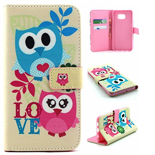 Galaxy S6 Edge Plus Case Wallet,IVY [Owl Couples][Kickstand Flip Case][Card Slot][Cash Pockets][Magnetic Buckle] Premium PU Leathe Wallet Flip Case For Samsung Galaxy S6 Edge+ SM-G928