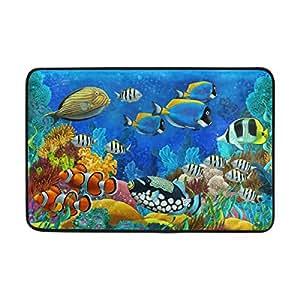 Mi Diario mar peces y Coral Felpudo 15,7x 23,6, sala de estar dormitorio cocina cuarto de baño decorativo ligero único impreso alfombra alfombras