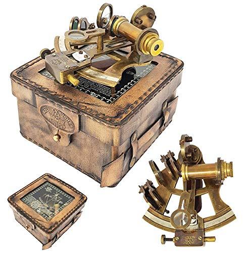 Instrument Antique (Brass Nautical - Brass Navigation Instrument Sextante Navegacion Marine Sextant in Hardwood Gift Box - Slow Motion Mechanism)