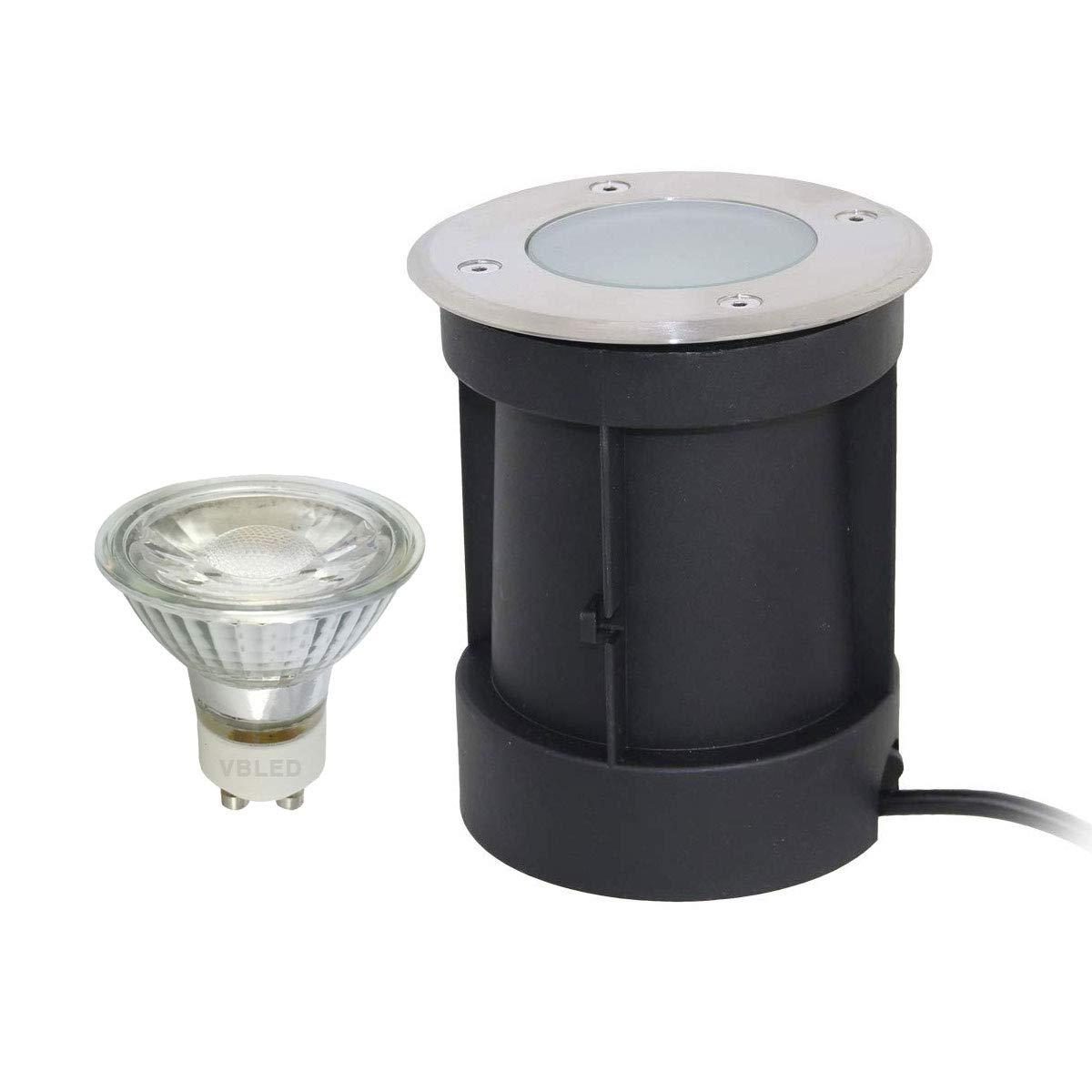 GU10 VBLED Foco LED empotrable en el suelo con casquillo orientable con bombilla de 5,5 W//resistente /ángulo de 60 /° IP65