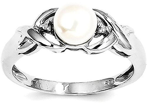 ICE CARATS 925 Sterling Silver Freshwater Cultured Button Pearl Diamond Band Ring Size 7.00 Fine Jewelry Gift Set For Women (Unique Pearl Rings)