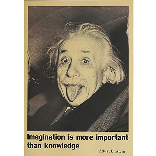 Poster Vintage Poster Famous Painting World Retro Antique Nursery Decal Wallpaper Poster Baby Mural Home Family Office Art Collection Living Room Bedroom Collection Poster (Albert Einstein Photo)
