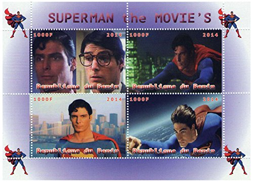 Marvel Superhero Superman scenes from old and new movies stamp sheet - 4 stamps 2014 / Republic Benin / (Super Heroes Stamp Sheet)