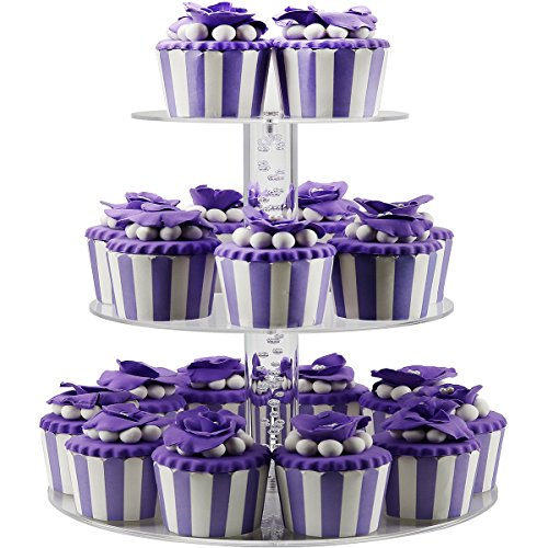 DYCacrlic 3 Tier Acrylic Birthday Cupcake Stand,Tiered Party Display Cake Stands, Mini Cupcakes Tower Holder Tree (Round Bubble Rod, Clear,2018 New Style) -