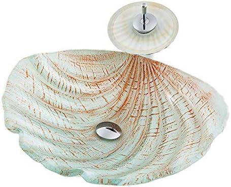 洗面ボウル 現代の貝殻ウェーブ強化ガラス容器シンク滝の蛇口、ポップアップドレインセット 浴室の台所の流し (Color : White, Size : 48x42x16cm)