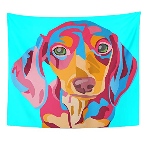 Semtomn Tapestry Artwork Wall Hanging Doxie Light Blue Dachshund Dog Weiner Weenie Hot Sausage 50x60 Inches Home Decor Tapestries Mattress Tablecloth Curtain Print ()