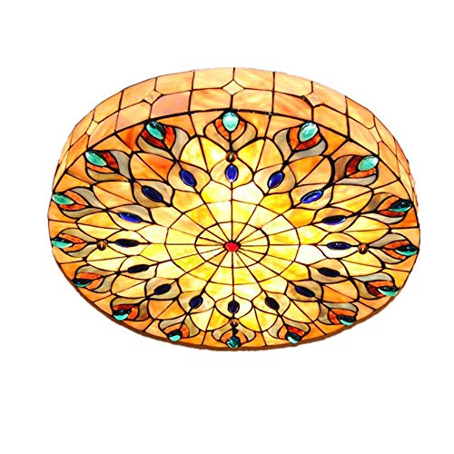 Vintage Tiffany Ceiling Light Hand-Made Colorful Chandelier Flush Mount Lighting Fixture, Lampshade with Mother of Pearl Decor (20 Inch) (Shade Lamp Pearl Of Mother)