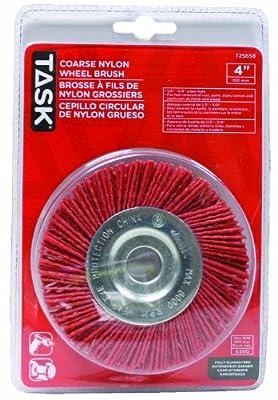 Task Tools T25658 1/2-Inch to 5/8-Inch Coarse Nylon Wheel Brush with 4-Inch Diameter