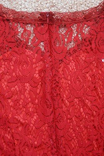 Babyonlinedress Vestido largo de noche cuello V sin manga espalda transparente de cierre estilo línea a y elegante burdeos