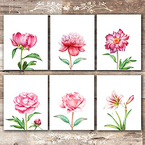 Floral Wall Art Prints (Set of 6) - Unframed - 8x10s   Botanical Decor