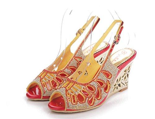 SHFANG Sandalias del verano de las señoras cristalinas del tacón alto Poe  del dedo del pie b9f80ee2edd6