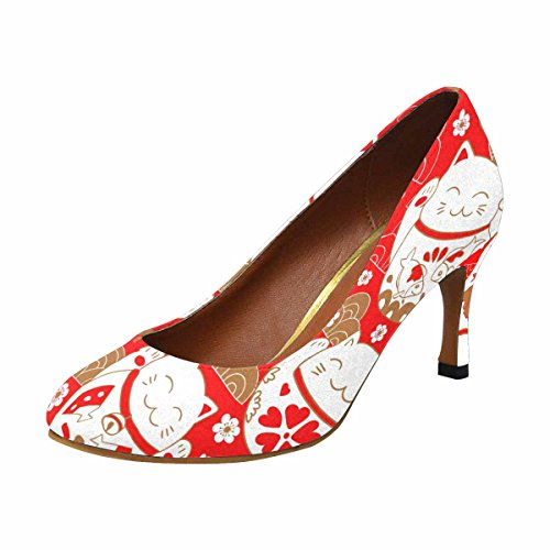 InterestPrint Womens Classic Fashion High Heel Dress Pump Cute Pattern With Cats, Lucky Charms, Maneki Neko, in Oriental Style
