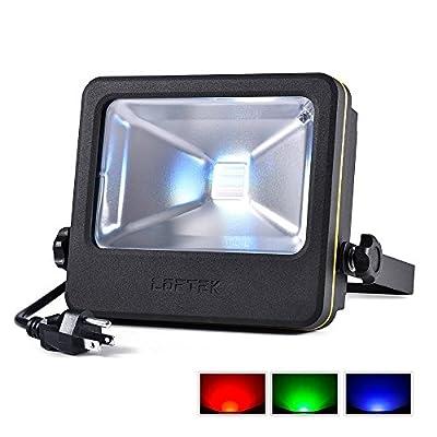 RGB Flood Light, 50 watts LED Security Floodlight, UL listed Plug, 16 Colors Changing and 6 Levels Adjustable Brightness Outdoor Light by LOFTEK, NOVA S Series, Black