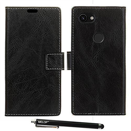 Pixel 3A XL case, Pixel 3 Lite XL Case, MELOP Retro PU Leather Wallet Magnet Flip Case Cover with Credit ID Cards Slots for Google Pixel 3A XL / 3Lite XL 2019 - Black