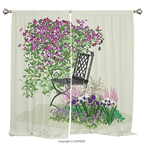 Rod Pocket Curtain Panel Thermal Insulated Blackout Curtains for Bedroom Living Room Dorm Kitchen Cafe/2 Curtain Panels/84 x 84 Inch/Country Home Decor,Island for Relaxing in the Garden Among the Flow from YOLIYANA