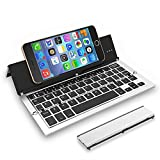 HIOTECH Bluetooth Keyboard Foldable Aluminum Alloy Material Keypad Compatible with iPhone 7 Plus / 7 / 6s Plus / 6 / iPad Air 2 / Air / iPad Pro / iPad, Samsung & Android Smart Phones (Silver)