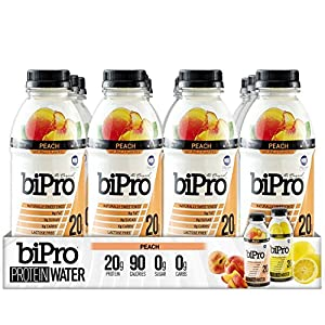 BiPro Protein Water, Peach, 16.9 Ounce (Pack of 12)