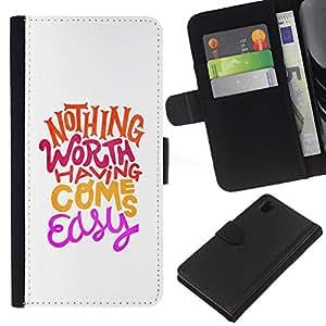 All Phone Most Case / Oferta Especial Cáscara Funda de cuero Monedero Cubierta de proteccion Caso / Wallet Case for Sony Xperia Z1 L39 // Hippie Funky Motivational Minimalist